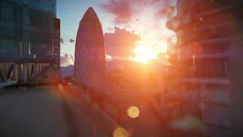 LONDON, UNITED KINGDOM â?? 04/19/2016: [London beautiful sunrise over Swiss Reinsurance Headquarters, The Gherkin, camera fly]