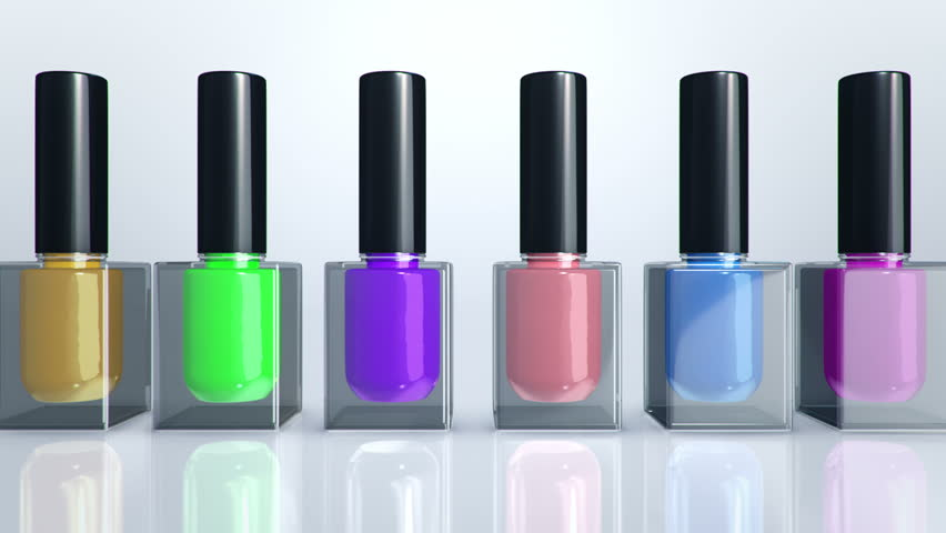 Animation of moving colorful nail polish bottles. Animation of seamless ...