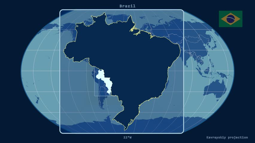 Zoomed In View Of A Brazil Outline With Perspective Lines Against A Global Admin Map