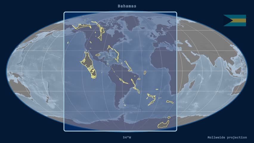 Digital animation of a red pointer on a world map surrounded by zoomed in view of a bahamas outline with perspective lines against a global elevation map sciox Gallery