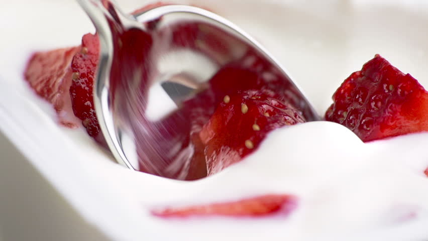 close-up of healthy strawberry and white yogurt on the spoon, concept of healthy food nutrition  #16064716