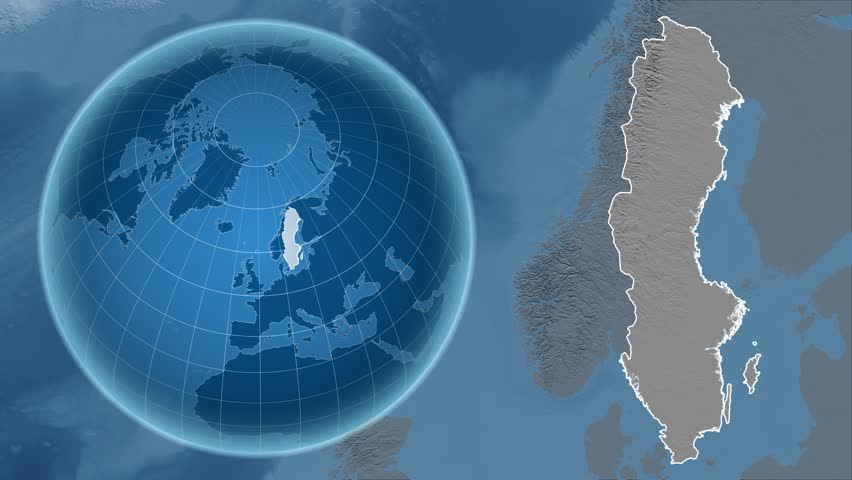 Norway Shape Animated On The Elevation Map Of The Globe Stock - Norway elevation map