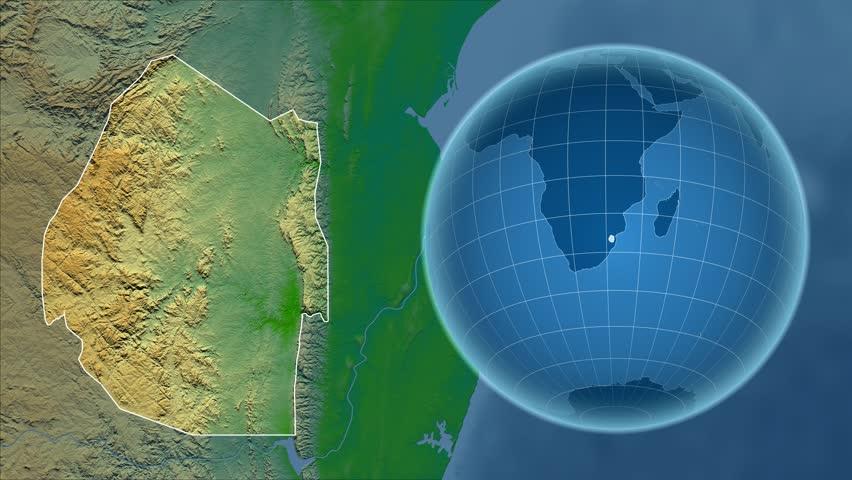 Swaziland Shape Animated On The Satellite Map Of The Globe Stock