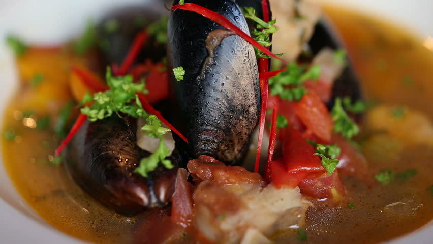 Soup with mussels beautiful dish. Plate rotates. | Shutterstock HD Video #16115173