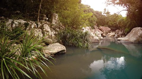 Deceptively peaceful waters gathering in a pool before the brink of Ba Ho Waterfall near Nha Trang. Vietnam. with sound. UltraHD video