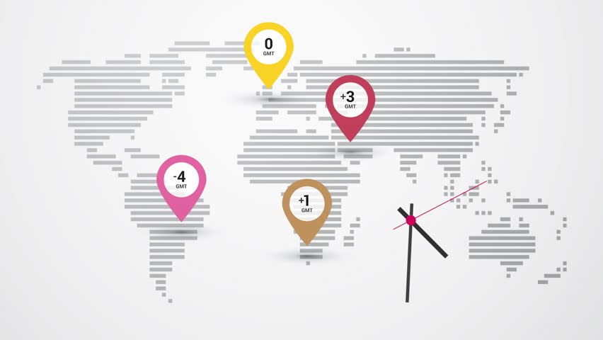 Map of world time zones and clock | Shutterstock HD Video #16149307