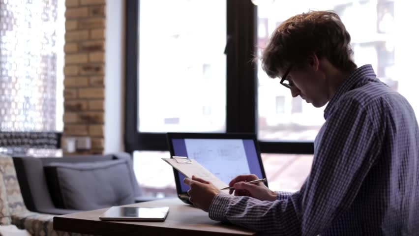 office space computer. Office Space Computer. Man Checks Drawings Using A Laptop - Hd Stock Footage Clip Computer