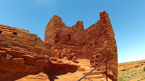 FLAGSTAFF, ARIZONA/USA- June 15, 2015- A close shot of the Sinagua Native American Indian Wukoki pueblo ruins in Wupatki National Monument with stairs.