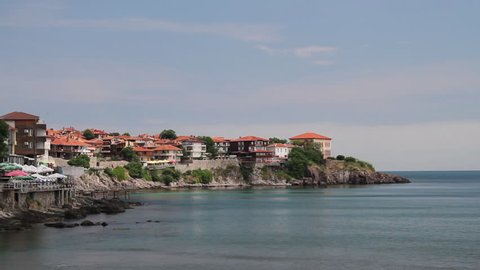 Waterside houses, hotels and restaurants in Sozopol, Black sea coast of Bulgaria.