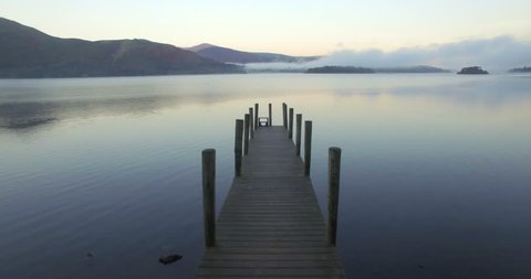 Wooden jetty at Barrow Bay landing, Derwent Water, Lake District National Park, Cumbria, England, United Kingdom - 01/10/2015