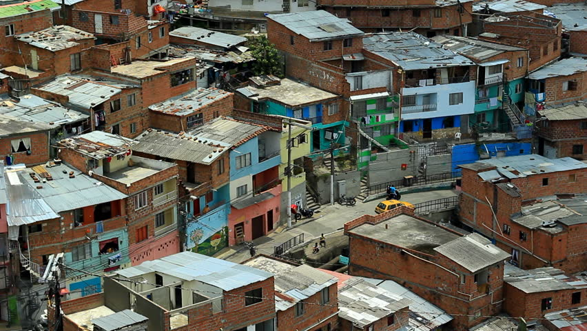 STREET IN POOR NEIGHBORHOOD IN COLOMBIA, LATIN AMERICA SEEN FROM ABOVE