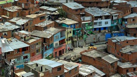 STREET IN POOR NEIGHBORHOOD IN COLOMBIA, LATIN AMERICA SEEN FROM ABOVE