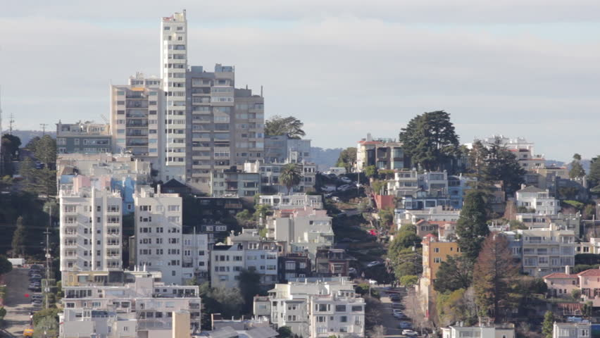Long shot of buildings and Lombard Street in San Francisco California | Shutterstock HD Video #16226977