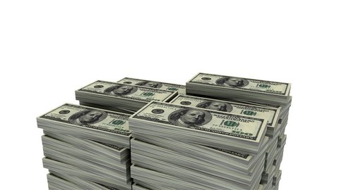Increasing money (Loop able, Alpha) 3d animation of continue increasing stack of 100 dollar bill