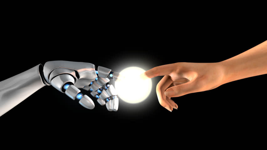 3D TOUCHING HANDS Of HUMAN AND CYBORG or The Creation of CYBORG. 2 very useful transitions or intro! ALPHA CHANNEL. Perfect for any TV show, news or documentary, video presentation or festival design. | Shutterstock HD Video #16237537