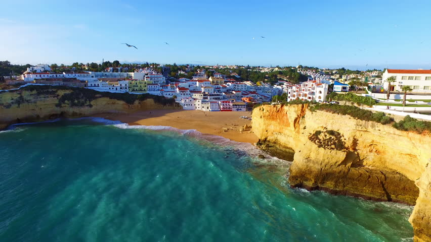 Aerial from the village Carvoeiro in the Algarve Portugal