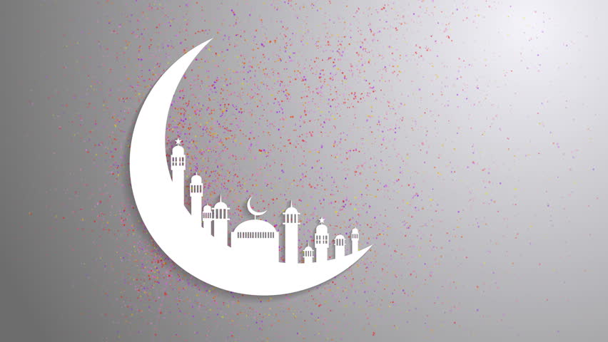 Islamic Ramadan In White Moon Shape Particle Background AnimationLight Ray Effect UHD 4k 3840x2160 Stock Footage Video 16260697