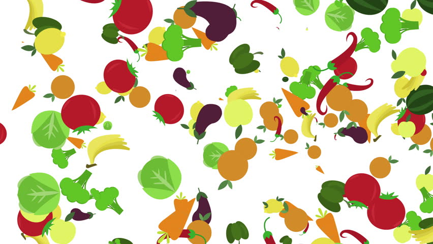Cartoon Healthy Food Background. Fruits Stock Footage ...