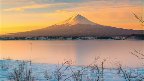4K Time-lapse Movie Sunrise of mt. Fuji at Lake Kawaguchi, Japan