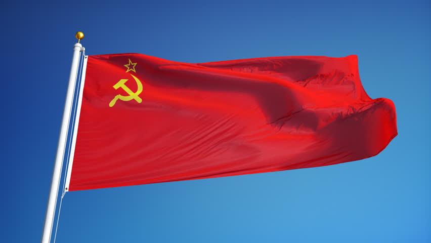 Ussr Flag Black And White Waving Soviet Union Fl...