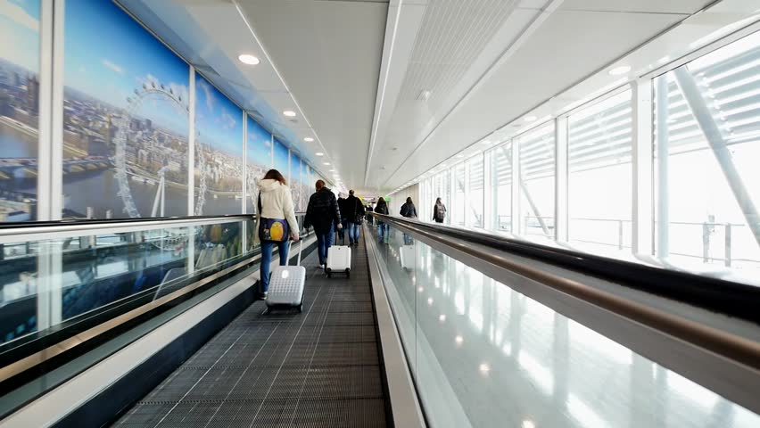 LONDON - MARCH 13, 2016: Interior view of Heathrow Airport, the busiest airport in the United Kingdom and the busiest airport in Europe by passenger traffic.