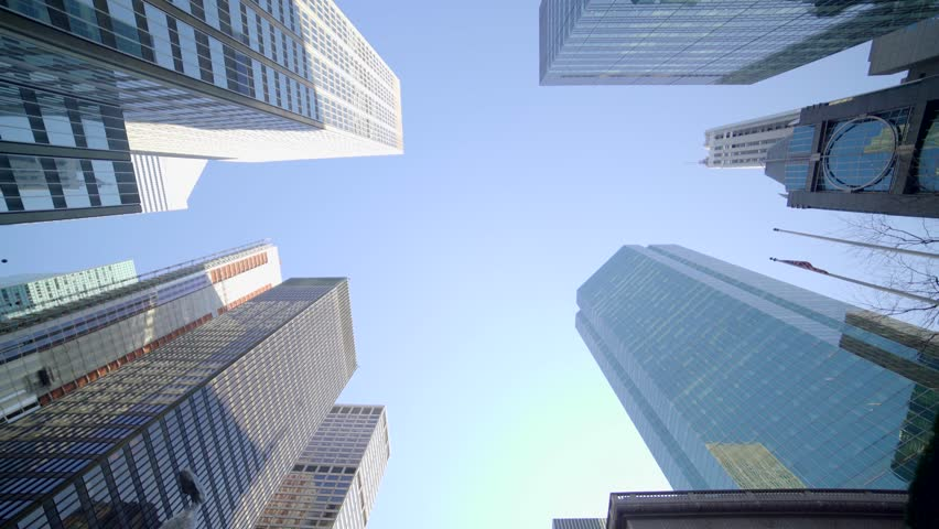 POV view of city skyline buildings. modern...