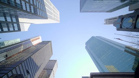POV view of city skyline buildings. modern business district background. financial economy growth concept