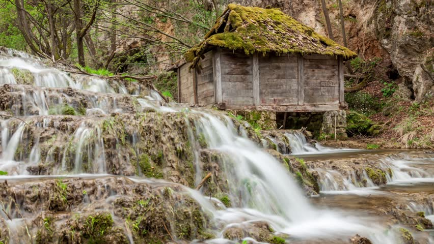 Forest waterfalls and old watermill. Early spring. Easy zoom in. | Shutterstock HD Video #16312177