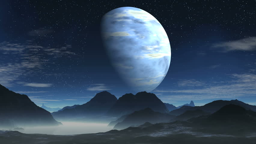 moon dream landscape scenic space animation stock footage