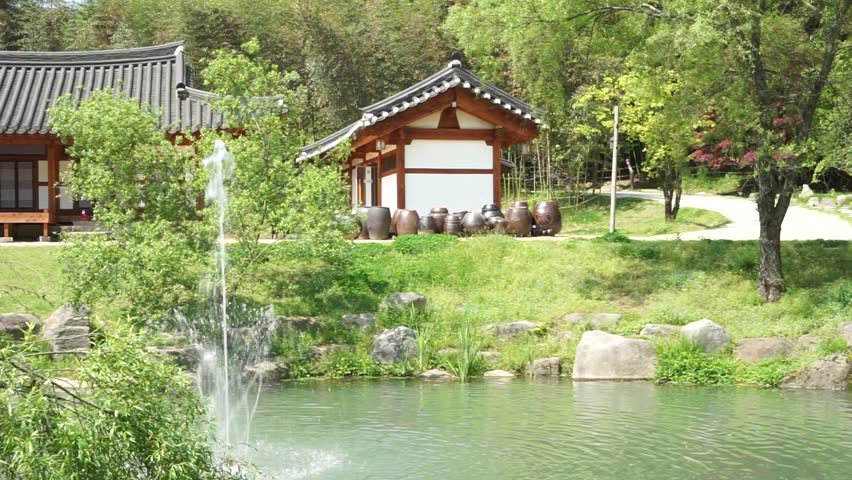 damyang south korea april 2016 juknokwon bamboo garden hanok and fountain - Bamboo Garden 2016