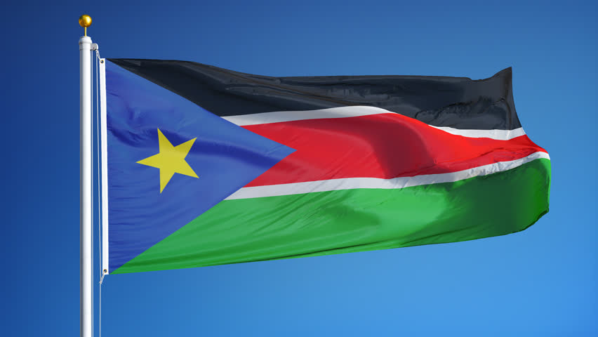 South Sudan flag waving in slow motion against clean blue sky, seamlessly looped, close up, isolated on alpha channel with black and white luminance matte, perfect for film, news, digital composition