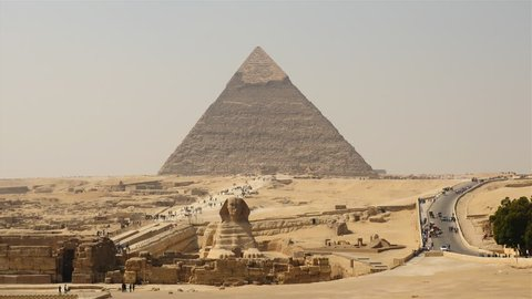 Time Lapse of Great Pyramids & Sphinx Daytime at Giza - Egypt  - Circa November 2015