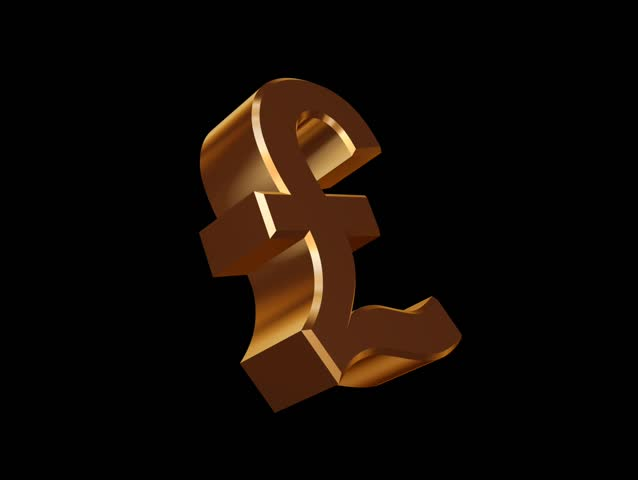 A Golden Sterling Pound Symbol Rotating Along Its Royalty Free Video