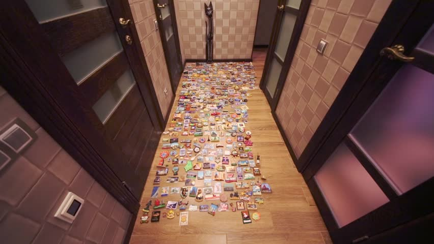Many refrigerator souvenir magnets spread out on floor in hallway