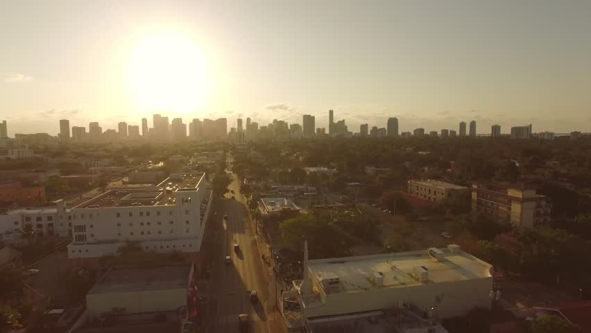 Beautiful Miami Aerial view - Sunset / Sunrise.  Natural Sepia colors of the city. | Shutterstock HD Video #16422502
