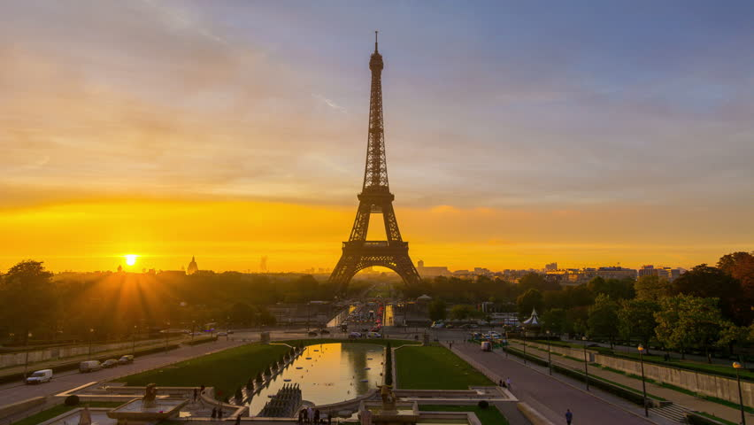4K timelapse of Paris at sunrise with the Eiffel Tower at the Trocadero gardens. | Shutterstock HD Video #16449661