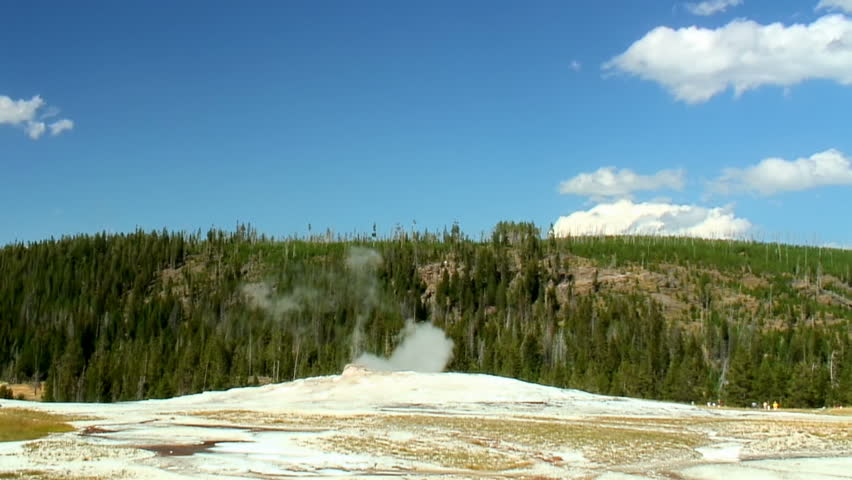 Old Faithful geyser erupts in Yellowstone National Park