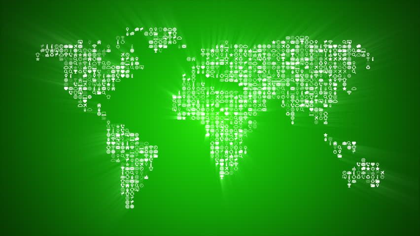Abstract world map with light beams and colorful dots ideal for different icons form the world map silhouette on green background more symbols and color backgrounds gumiabroncs Choice Image
