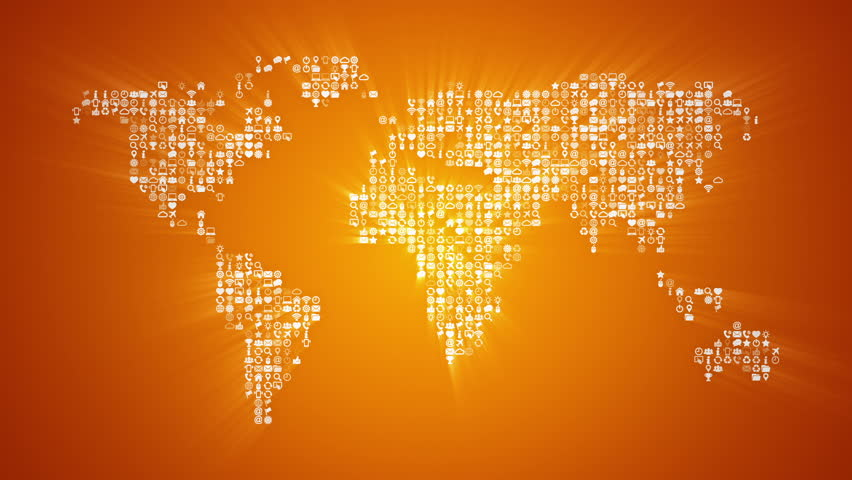 Different icons form the world map silhouette on red background different icons form the world map silhouette on gold background more symbols and color backgrounds gumiabroncs Choice Image