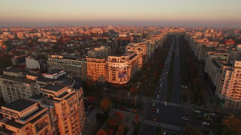 Aerial view over Bucharest City center skyline at dusk
