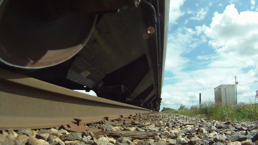 POV, train over edge of track end