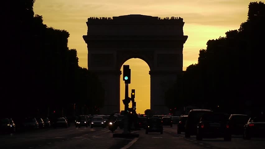 View of famous Arc de Triomphe at sunset Paris France slow motion | Shutterstock HD Video #16563412