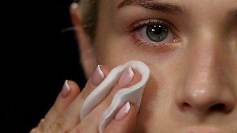 Cleansing healthy skin. Black. Closeup