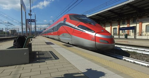 FIRENZE- ITALY: MAY, 5 2016: Trenitalia Frecciarossa 1000 Train is Passing from the Station of Firenze Rifredi.