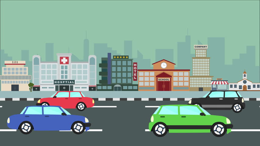Colorful Cartoon City Traffic Loop Stock Footage Video