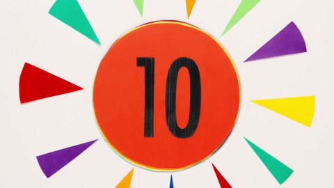 Countdown stop motion animation. Leader graphic 10 to 0. Stop motion animation with color paper