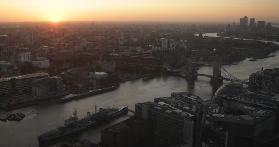 Beautiful Morning Sunrise London Skyline Aerial View Sunshine UK Brand New Day ( Ultra High Definition, UltraHD, Ultra HD, UHD, 4K, 2160P, 4096x2160 ) | Shutterstock HD Video #16656142