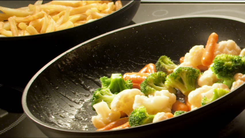 Frying vegetables