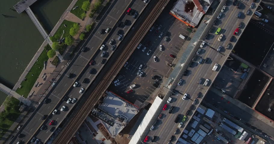 Harlem Bridge Parking Lot Descending Shot | Shutterstock HD Video #16707367