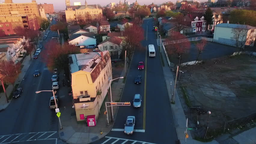 Newark New Jersey East Orange Aerial Of Houses With Sunset